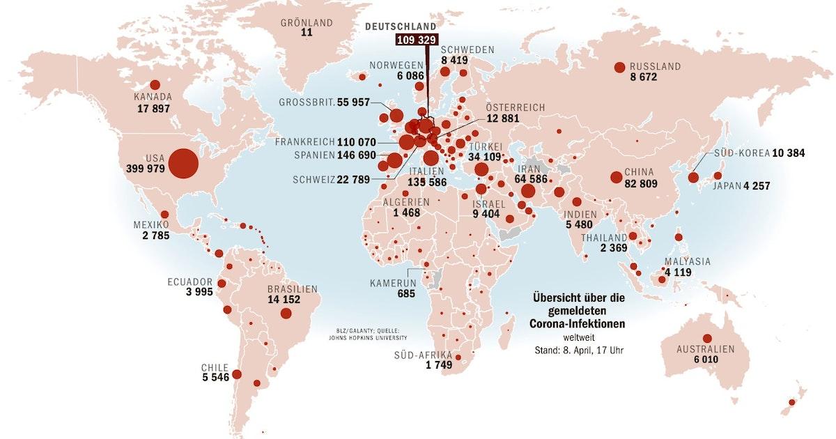 Corona Welt Karte
